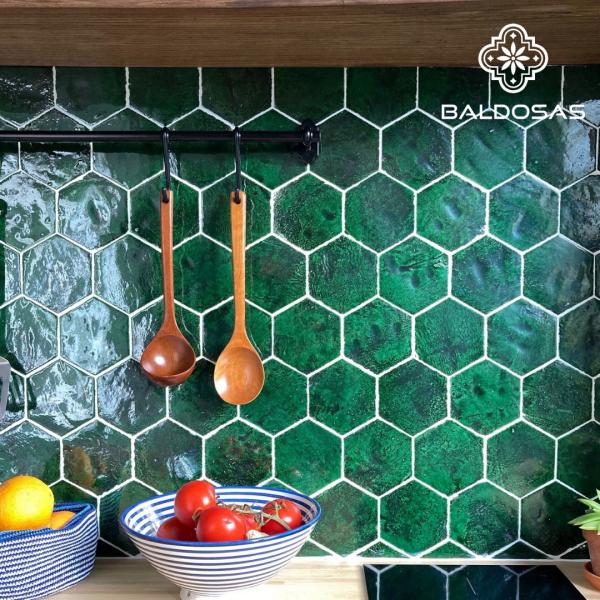 groene hexagon tegel keuken