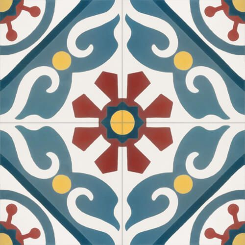 Retro tegel spaanse en portugese patroontegels bloem groot