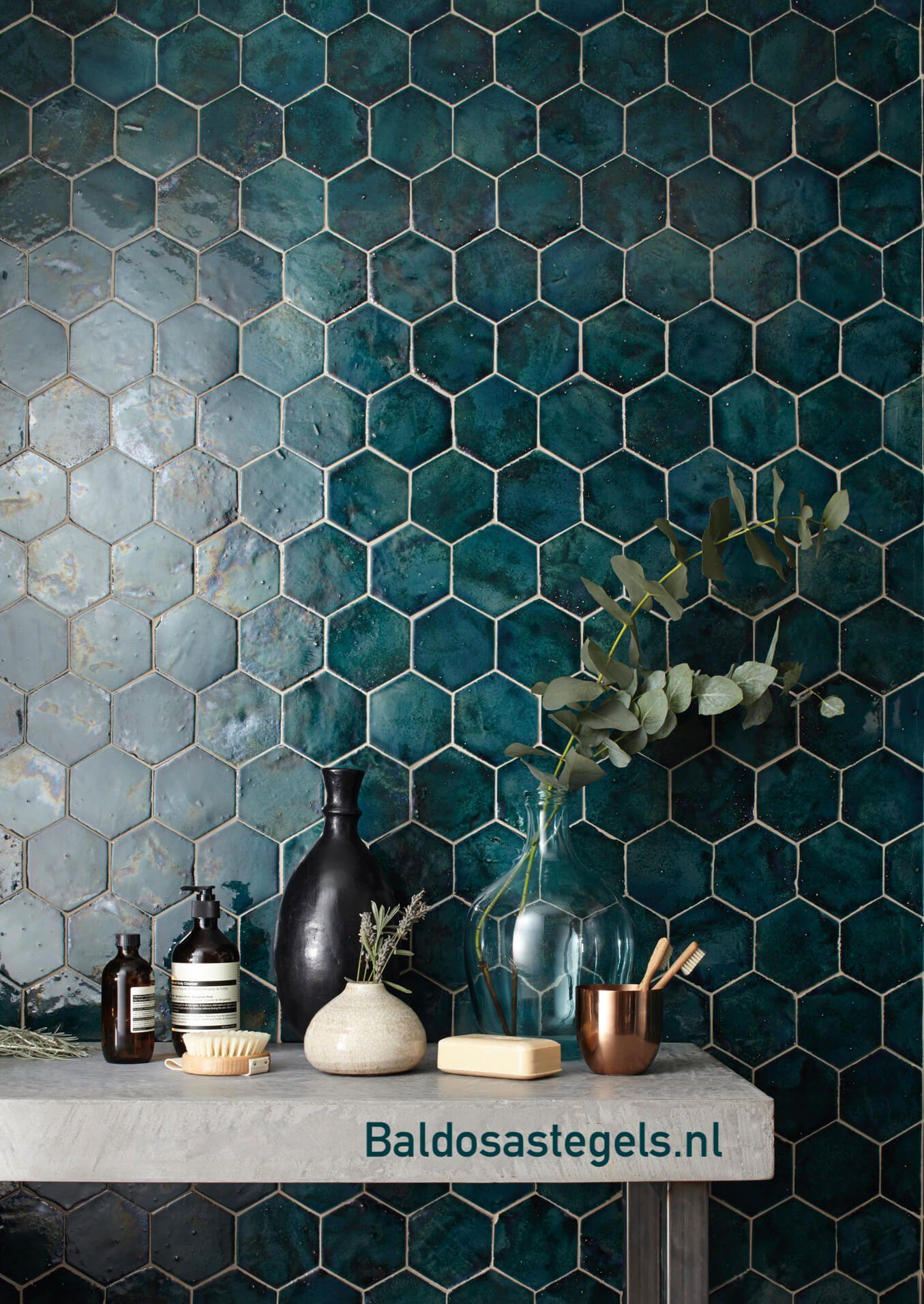 Hexagon tegels blauw