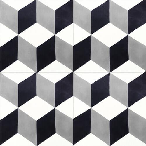 Retro tegels zwart wit grijs