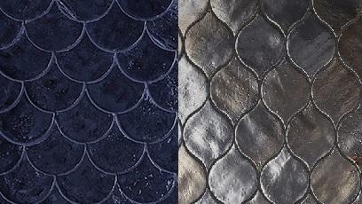 Visschub tegels blauw naast druppel tegels antraciet grijs metallic