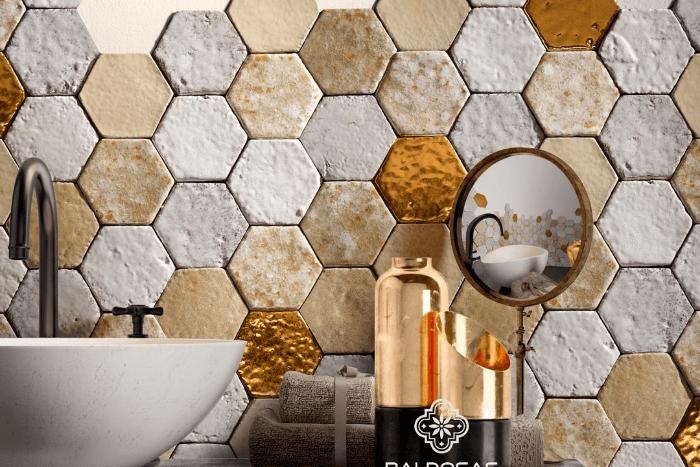 hexagon mozaïek tegels goud wit metal