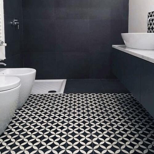 portugese patroon tegels vloer badkamer
