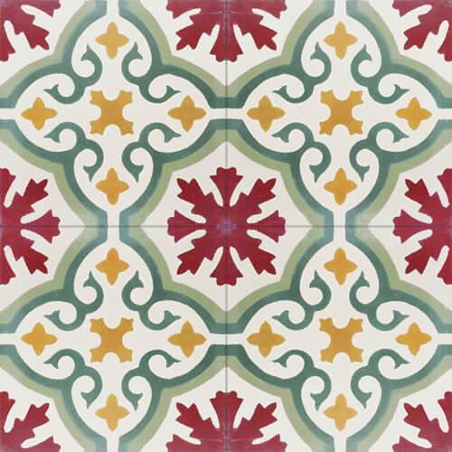 retro tegels victoriaans patroon klassiek rood wit blauw geel