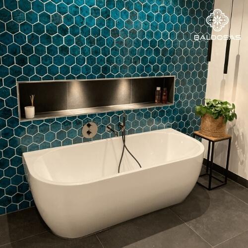 Zeshoekige 6 hoekige hexagon tegels blauw wandtegels badkamer