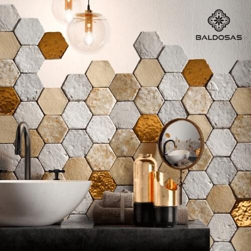 Hexagon tegels goude tegels wandtegels