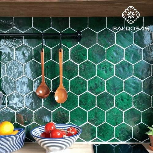 zeshoekige hexagon 6hoek tegels groen wandtegels