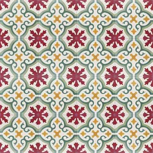 198a Spaanse cementtegel bloemmotief