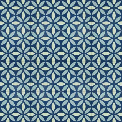 210 Spaanse cementtegel blauw en groen