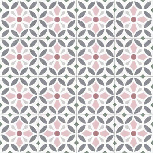 211 Spaanse patroontegel bloem roze grijs