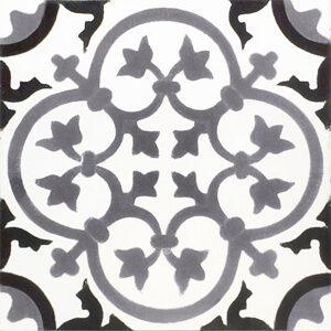 229 Spaanse vloertegel zwart wit