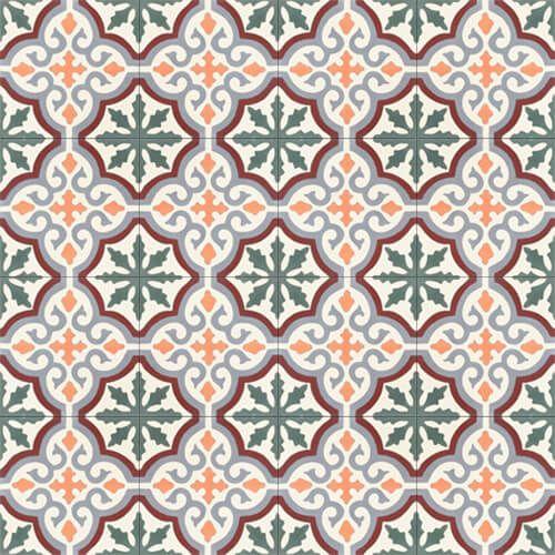 257a Spaanse cementtegel oranje groen vintage