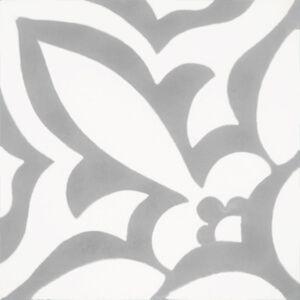 288 vloertegel grote bloem grijs wit