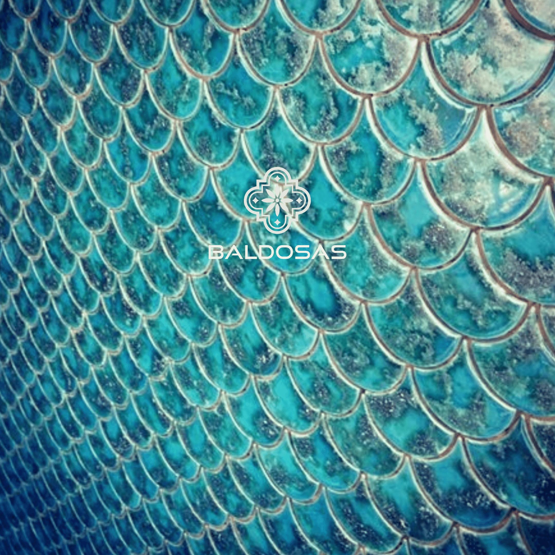 Visschub tegels turquoise