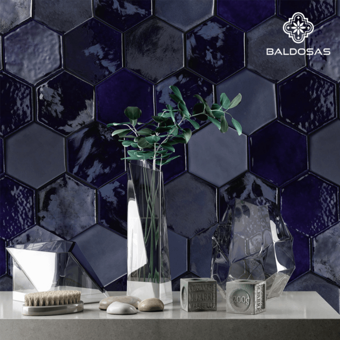 Hexagon tegels donkerblauw