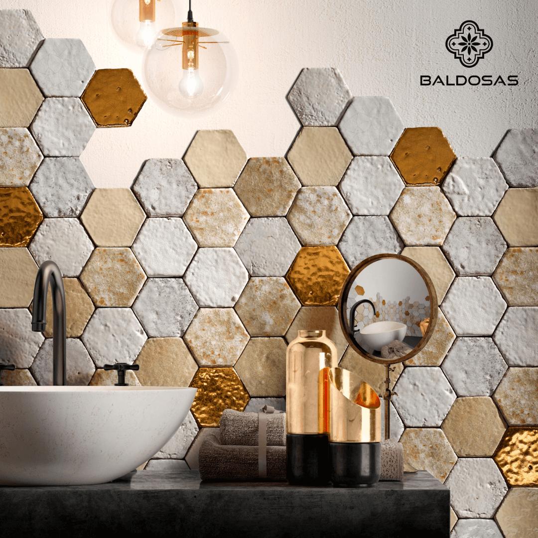 hexagon tegels goud